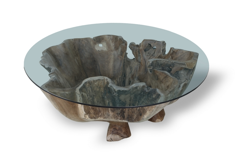 Teak root coffee table glass top round 80cm - TEAKROOT ...
