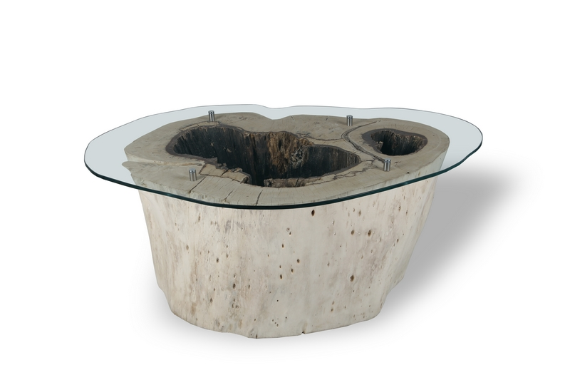 Teak root glass coffee table 80cm - TEAKROOT FURNITURE